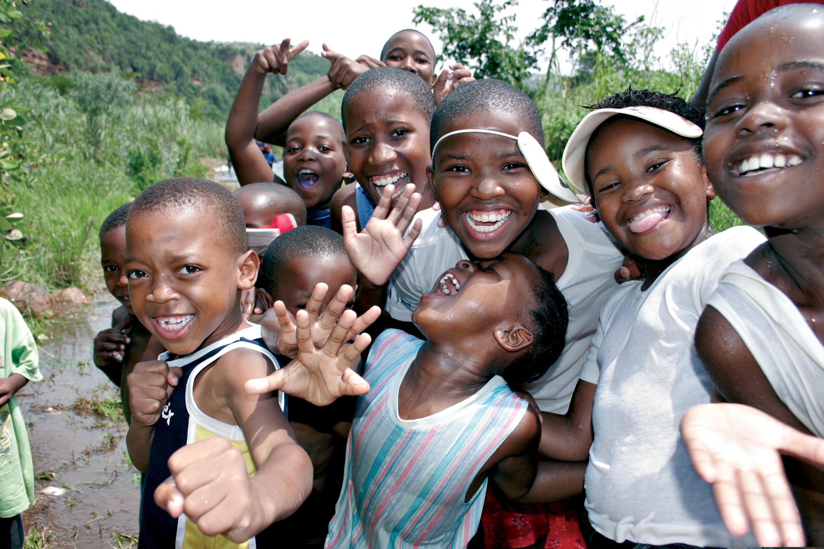 kinder die lachen in zuidafrika